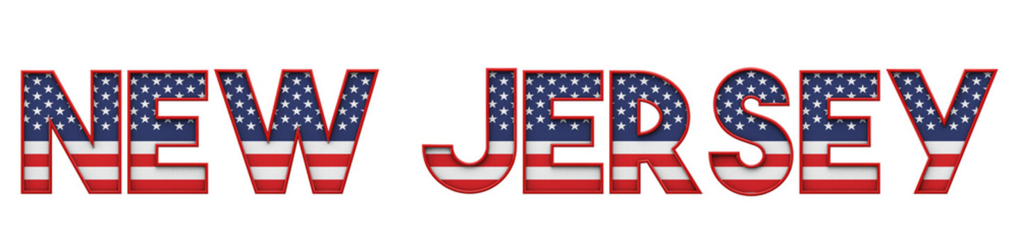 New Jersey USA state made from starts and stripes lettering. 3D Rendering