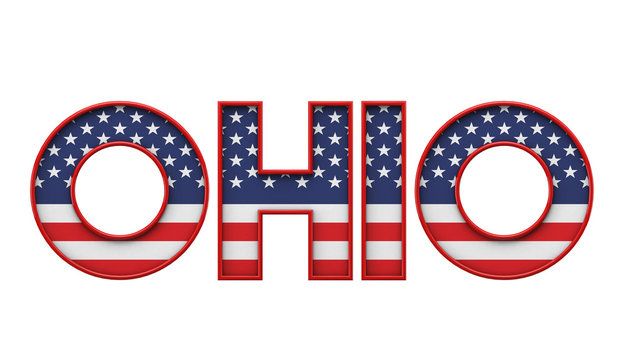 Ohio USA state made from starts and stripes lettering. 3D Rendering