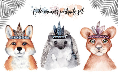 Cute baby fox, hedgehog and lion isolated illustration for children. Watercolor boho forestdrawing, watercolour, Perfect for nursery posters, patterns