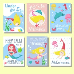 Cute mermaid cards vector template set