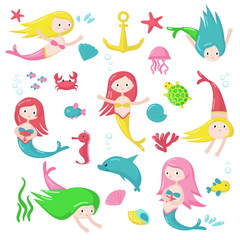 Cute mermaid icon set vector isolated illustration