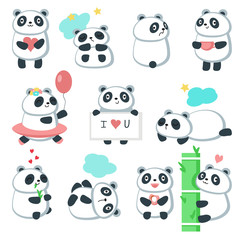 Cute panda icon set, vector isolated illustration