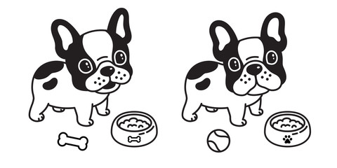 dog vector french bulldog cartoon character logo icon baseball bowl illustration symbol