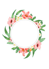 Watercolor floral invitation. Round wreath with pink flowers and eucalyptus leaves. Exotic flowers for invitation, wedding or greeting cards.