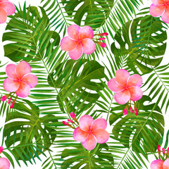 Tropical background. Fashinable summer seamless pattern.