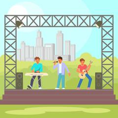 Open-air concert vector flat illustration