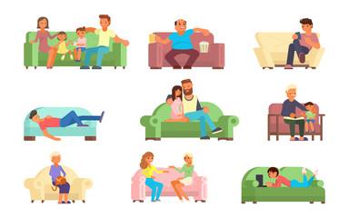 People on sofa vector flat style illustration
