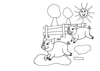 Lustige Schweine Spielen Auf Der Weide Schweinchen Gezeichnet Fur Kinder