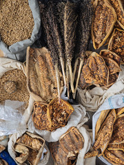 Fabric bags of grains and spices