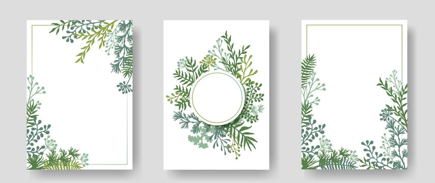 Vector invitation cards with herbal twigs and branches wreath and corners border frames.