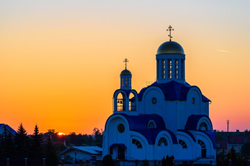 Orthodox Christian church at dawn