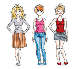 Attractive young adult girls standing in stylish casual clothes. Vector people illustrations set. Fashion and lifestyle theme cartoons.
