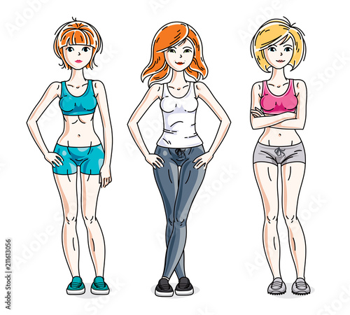 cc42b7eb11 Happy cute young women standing wearing stylish sport clothes. Vector set  of beautiful people illustrations.