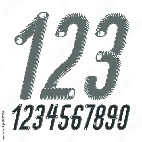 Trendy vector numerals collection  Modern italic condensed