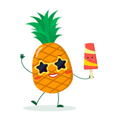 Cute pineapple cartoon character in sunglasses star in the hands of a colorful ice cream. Vector illustration, a flat style.