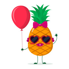 Cute pineapple cartoon character sunglasses hearts, bow and earrings. Holds a red air balloon. Vector illustration, a flat style.