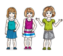 Cute happy little girls posing wearing casual clothes. Vector diversity kids illustrations set. Childhood and family lifestyle cartoons.
