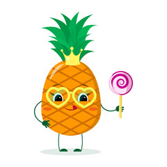 Cute pineapple cartoon character with crown and yellow glasses, holds a lollipop.Vector illustration, a flat style.