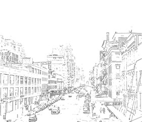 Aluminium Prints Art Studio Hand drawn city. Vector Iluustration.