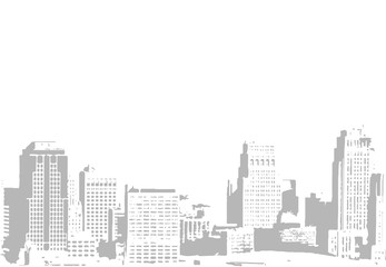 Vector illustration of city buildings. Hand drawn.