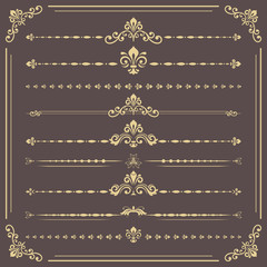 Vintage set of vector decorative elements. Horizontal golden separators in the frame. Collection of different ornaments. Classic patterns. Set of vintage patterns