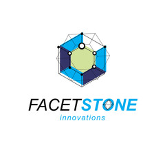 Construction industry symbol. 3D design, abstract vector faceted shape.