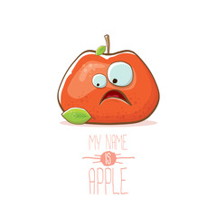 vector funny cartoon cute red apple character isolated on white background. My name is apple vector concept. super funky fruit food character