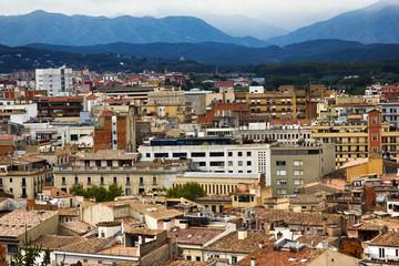 Romantic white city on hills - Spanish town Girona