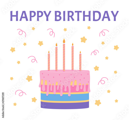Happy Birthday Greeting Card With A Cake And Candles