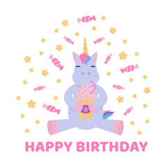 Greeting card with a unicorn for a Birthday.