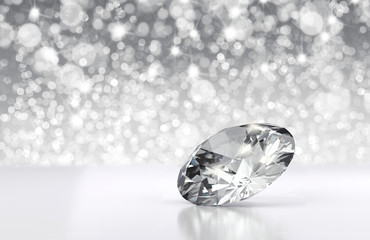 Diamond placed on clean background with light bokeh, 3D illustration.