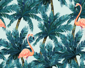 Exotic summer print. Seamless pattern with palm tree  and flamingo. Watercolor style.Vector illustration