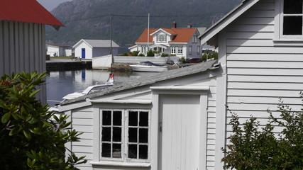 Fototapete - Historisches Fischerdorf Rasvåg auf der Insel Hidra / Südnorwegen