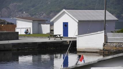 Wall Mural - Bootshaus / Schuppen am Fjord