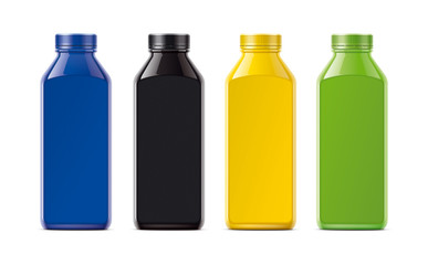 Bottles for juice, soda and other. Colored, not transparent version