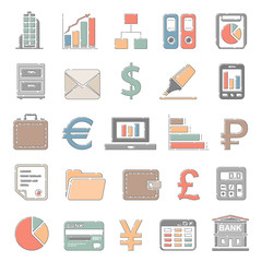 Outline Color Icons - Business and Finance