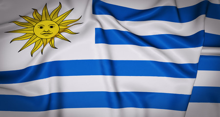 Uruguay National Flag 3D Background
