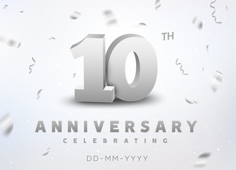 10 years silver number anniversary celebration event. Anniversary banner ceremony design for 10 age