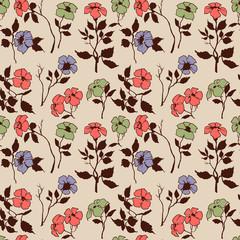 Fototapete - Floral seamless pattern, folk style