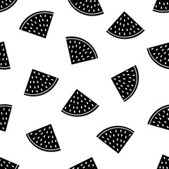 Seamless pattern with black watermelon slices on the white background.