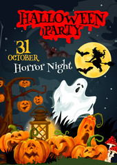 Halloween ghost poster for horror party design