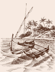 Marina drawing. Fishing boat on shore