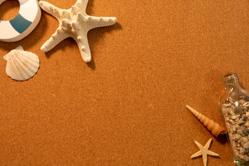 Background image of summer: shells, star fish and a bottle of sands (center text space)