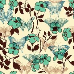 Fototapete - Flowers and butterflies seamless pattern
