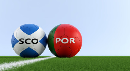 Scotland vs. Portugal Soccer Match - Soccer balls in Scotland and Portugal national colors on a soccer field. Copy space on the right side - 3D Rendering