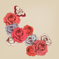 Fototapete - Hand drawn rose stems background
