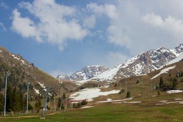 Mountains of the Zailiysky Alatau in summer near Almaty, Kazakhstan