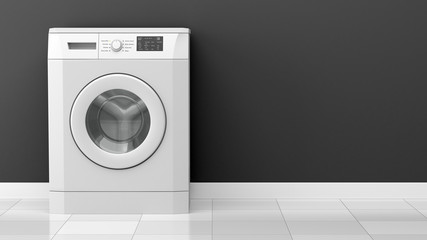 modern washing machine in front of gray wall