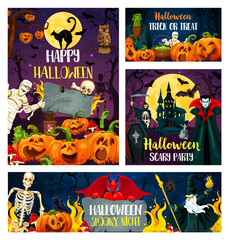 Halloween banner of horror party invitation design