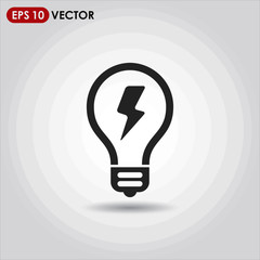 light bulb single vector icon on light background
